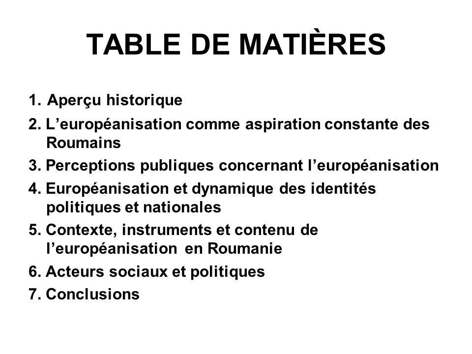 TABLE DE MATIÈRES 1. Aperçu historique 2.