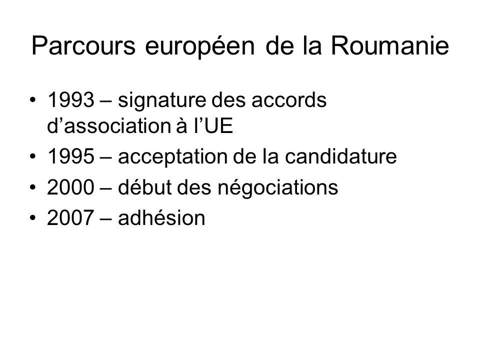 Parcours européen de la Roumanie 1993 – signature des accords dassociation à lUE 1995 – acceptation de la candidature 2000 – début des négociations 2007 – adhésion