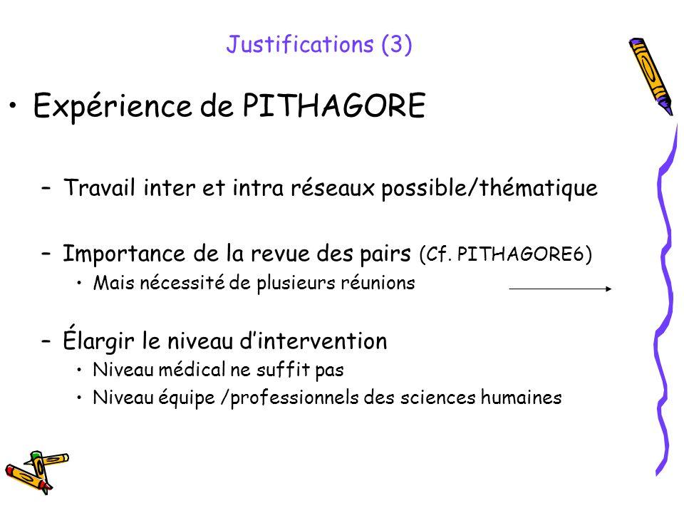 Expérience de PITHAGORE –Travail inter et intra réseaux possible/thématique –Importance de la revue des pairs (Cf. PITHAGORE6) Mais nécessité de plusi
