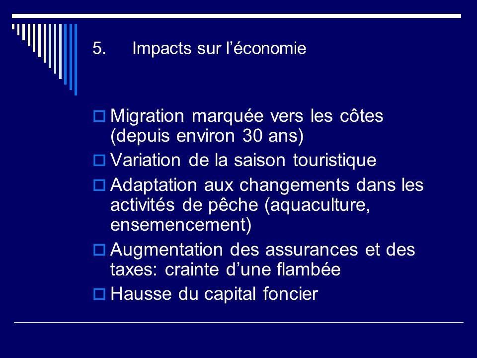 5.Impacts sur léconomie Migration marquée vers les côtes (depuis environ 30 ans) Variation de la saison touristique Adaptation aux changements dans les activités de pêche (aquaculture, ensemencement) Augmentation des assurances et des taxes: crainte dune flambée Hausse du capital foncier