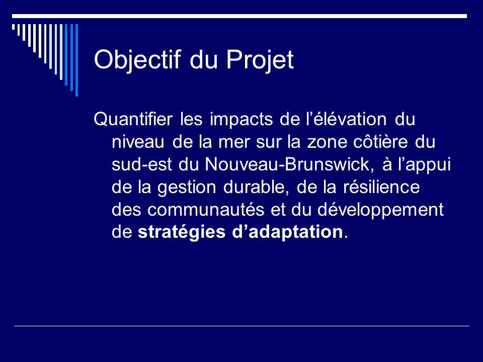 Objectif du Projet Quantifier les impacts de lélévation du niveau de la mer sur la zone côtière du sud-est du Nouveau-Brunswick, à lappui de la gestion durable, de la résilience des communautés et du développement de stratégies dadaptation.