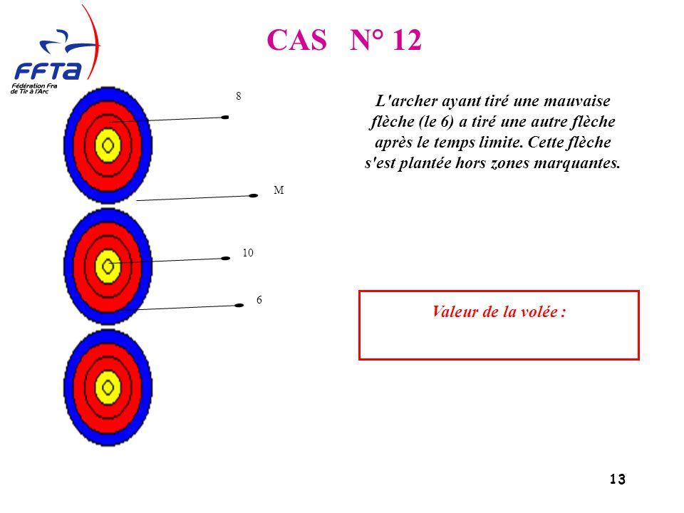 13 CAS N° 12 L archer ayant tiré une mauvaise flèche (le 6) a tiré une autre flèche après le temps limite.
