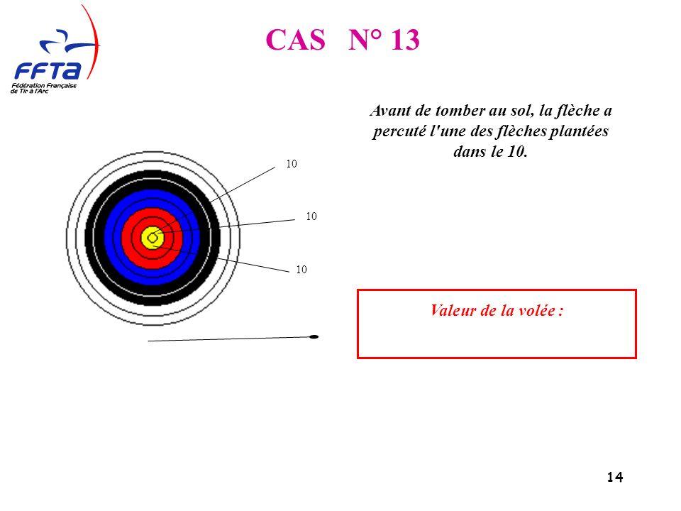 14 CAS N° 13 Valeur de la volée : Avant de tomber au sol, la flèche a percuté l une des flèches plantées dans le 10.