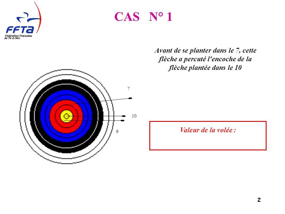 2 Avant de se planter dans le 7, cette flèche a percuté l encoche de la flèche plantée dans le 10 9 7 10 Valeur de la volée : CAS N° 1