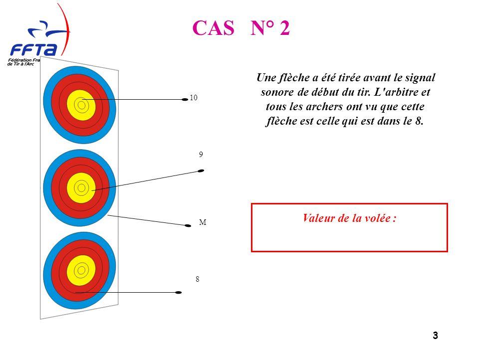 3 10 9 M 8 CAS N° 2 Une flèche a été tirée avant le signal sonore de début du tir.