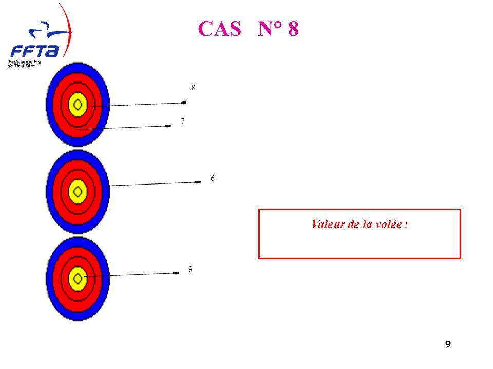 10 CAS N° 9 La flèche dans le 7 a été tirée hors temps limite. Valeur de la volée : 10 9 7