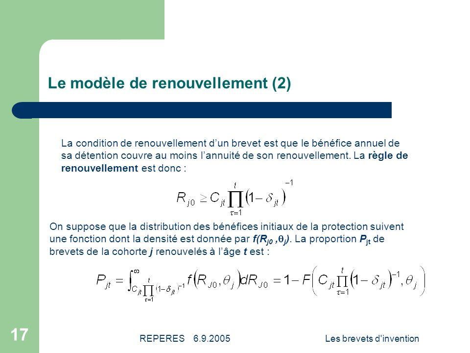 REPERES 6.9.2005Les brevets d invention 18 Les modèles estimés Les estimations économétriques vont nous permettre de chiffrer les paramètres suivants : La valeur moyenne de la fonction de distribution des bénéfices initiaux de chaque cohorte de brevets.