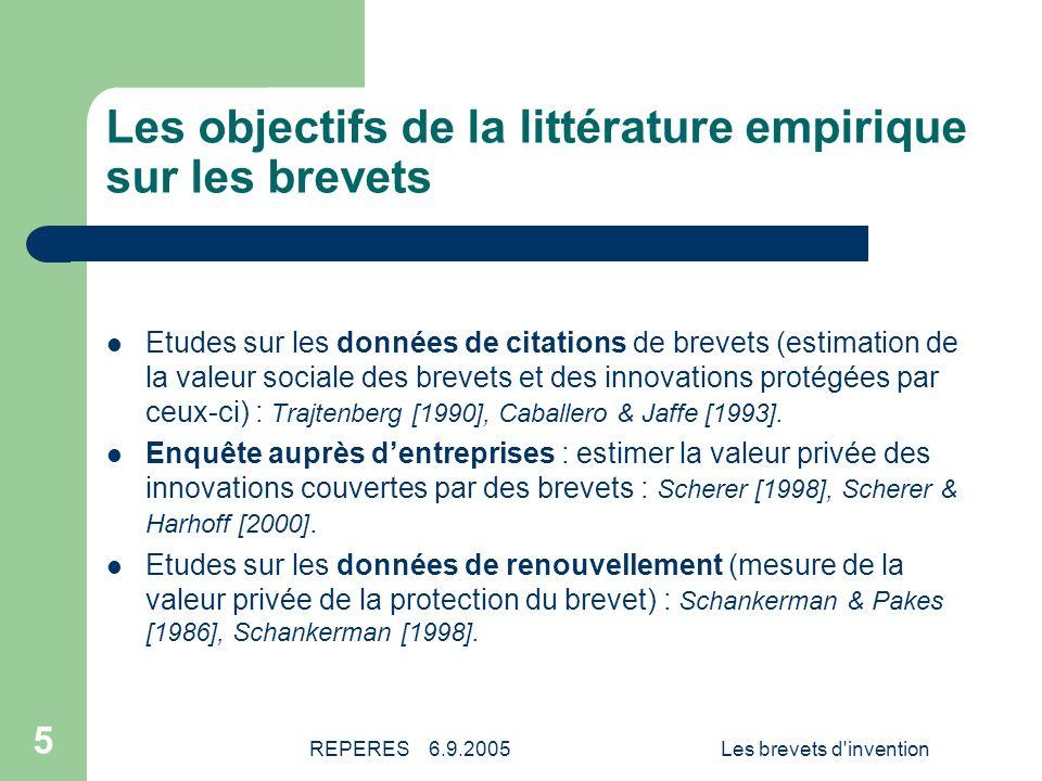 REPERES 6.9.2005Les brevets d invention 6 Le constat de départ de cet article Le brevet est devenu un élément déterminant de la politique dinnovation.