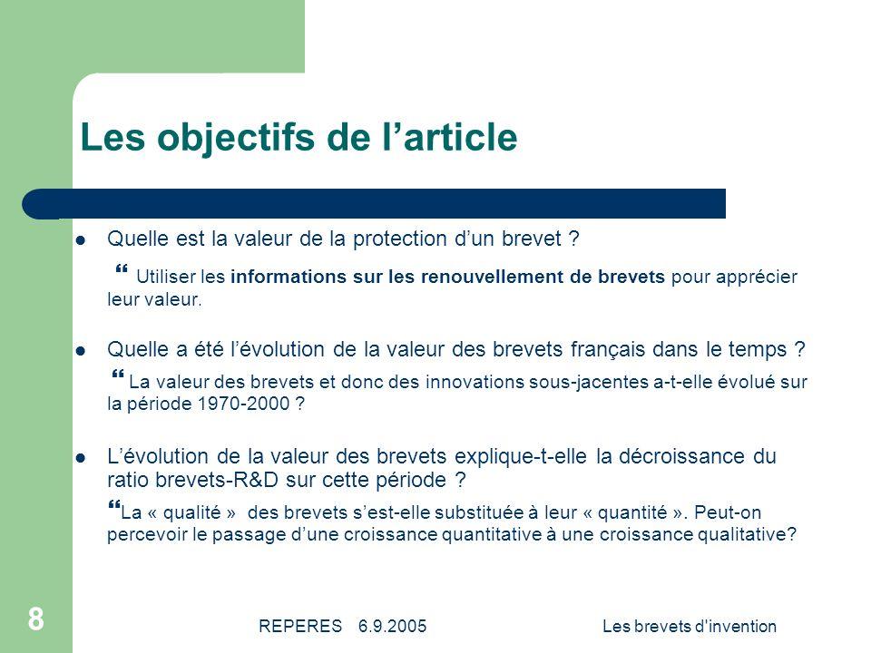 REPERES 6.9.2005Les brevets d invention 9 Les données (1) Les demandes de brevets pour une protection en France Demandes de brevets pour une protection en France, par la voie nationale (gras) et toutes voies confondues