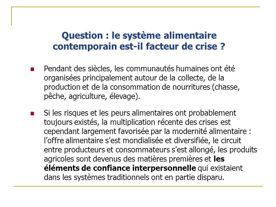 Question : le système alimentaire contemporain est-il facteur de crise ? Pendant des siècles, les communautés humaines ont été organisées principaleme