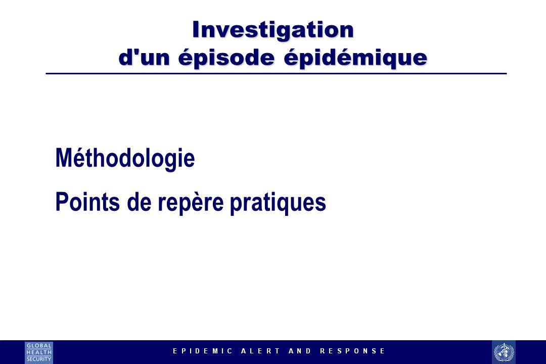 Investigation d'un épisode épidémique Méthodologie Points de repère pratiques