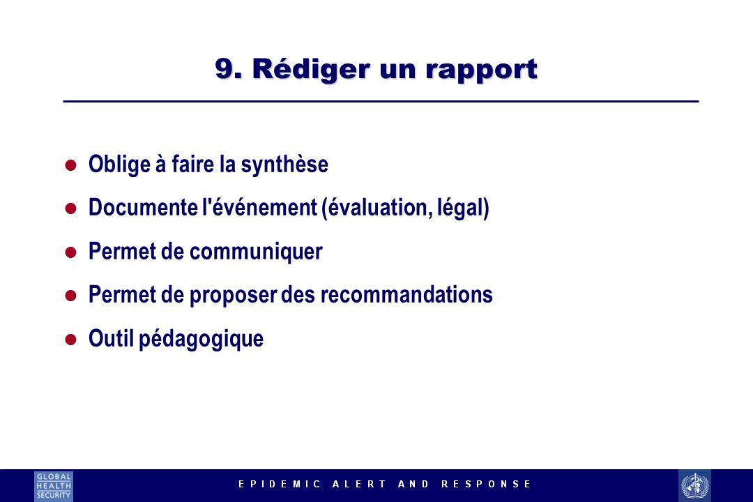 9. Rédiger un rapport l Oblige à faire la synthèse l Documente l'événement (évaluation, légal) l Permet de communiquer l Permet de proposer des recomm