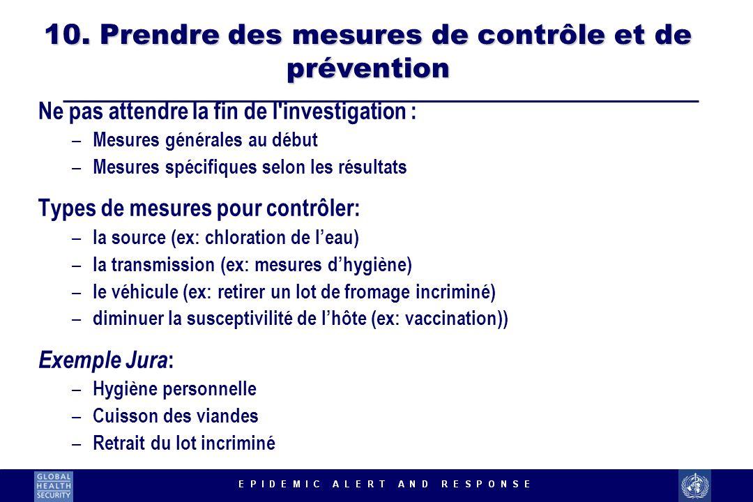 10. Prendre des mesures de contrôle et de prévention Ne pas attendre la fin de l'investigation : – Mesures générales au début – Mesures spécifiques se