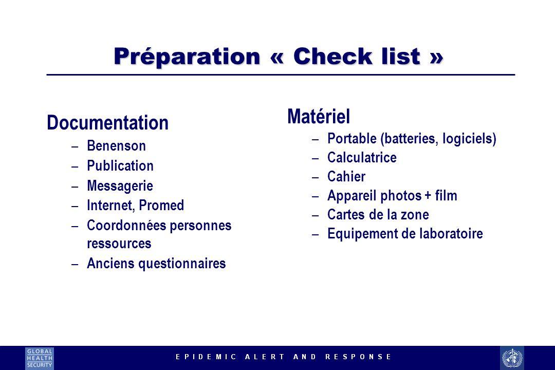 Préparation « Check list » Documentation – Benenson – Publication – Messagerie – Internet, Promed – Coordonnées personnes ressources – Anciens questio