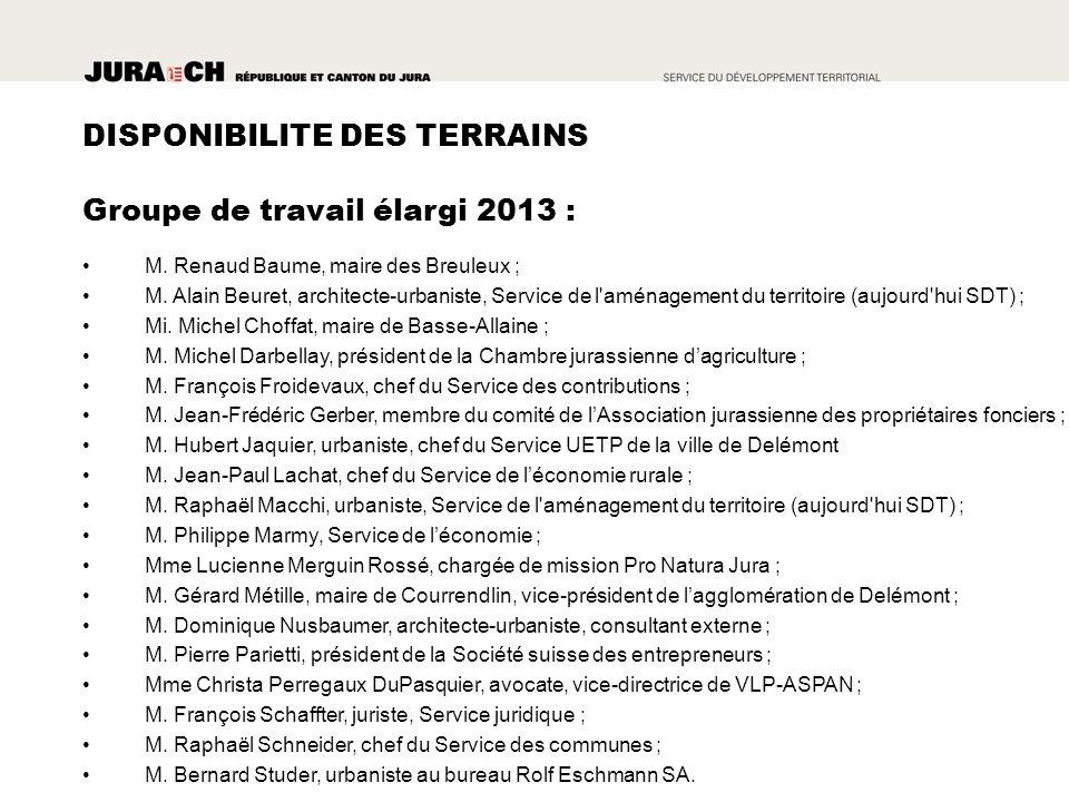Groupe de travail élargi 2013 : M. Renaud Baume, maire des Breuleux ; M.