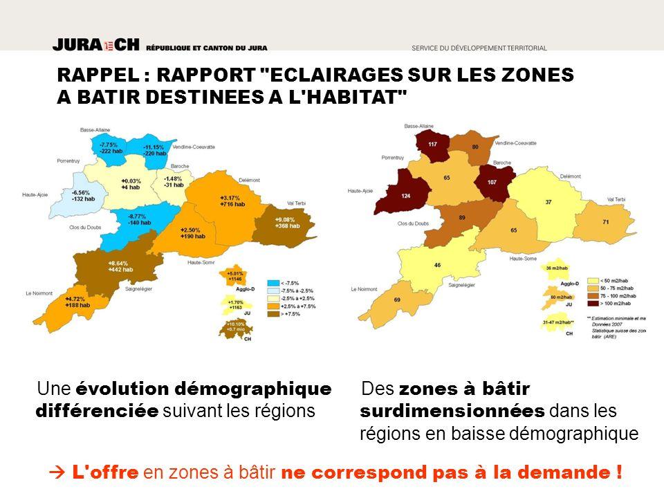 Des zones à bâtir surdimensionnées dans les régions en baisse démographique Une évolution démographique différenciée suivant les régions L offre en zones à bâtir ne correspond pas à la demande .