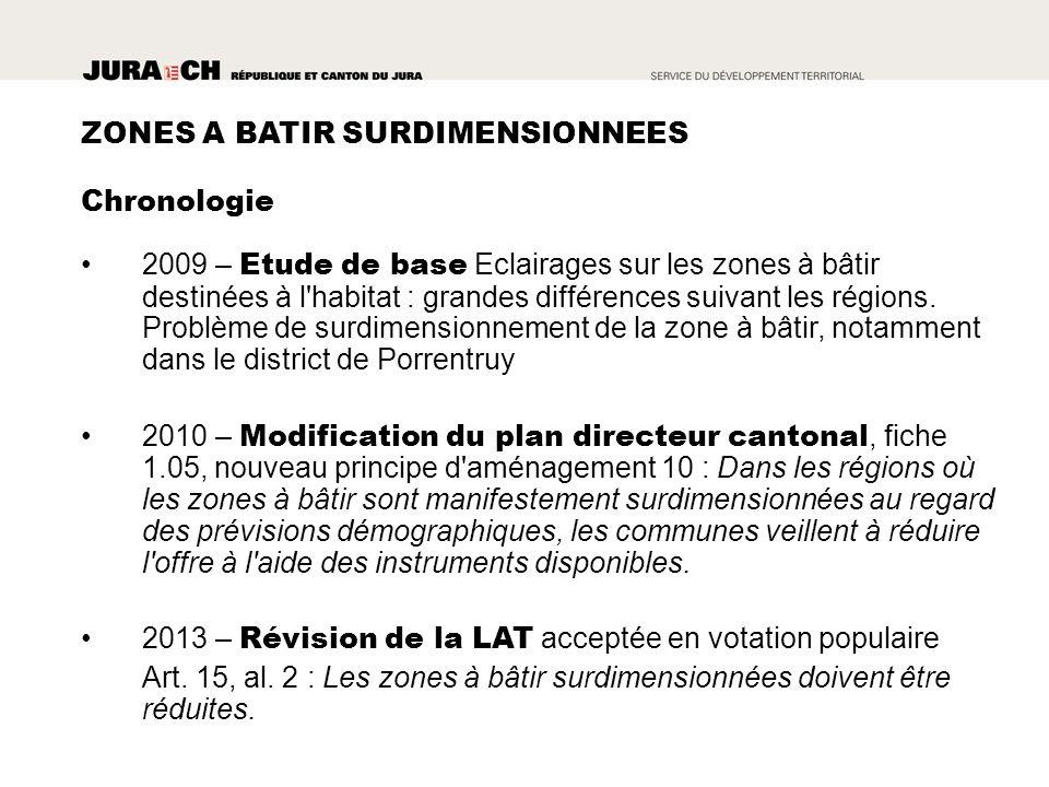 ZONES A BATIR SURDIMENSIONNEES 2009 – Etude de base Eclairages sur les zones à bâtir destinées à l habitat : grandes différences suivant les régions.