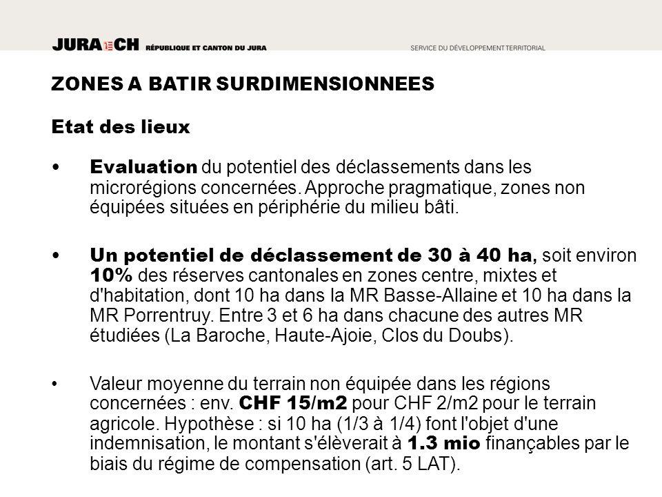 ZONES A BATIR SURDIMENSIONNEES Evaluation du potentiel des déclassements dans les microrégions concernées.