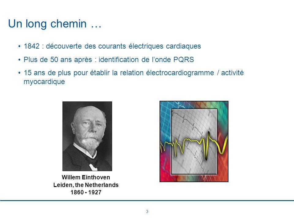 3 Un long chemin … 1842 : découverte des courants électriques cardiaques Plus de 50 ans après : identification de londe PQRS 15 ans de plus pour établ