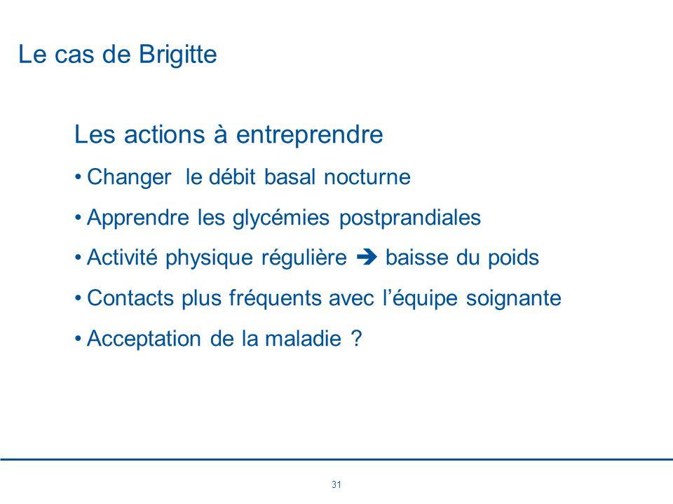 31 Le cas de Brigitte Les actions à entreprendre Changer le débit basal nocturne Apprendre les glycémies postprandiales Activité physique régulière ba