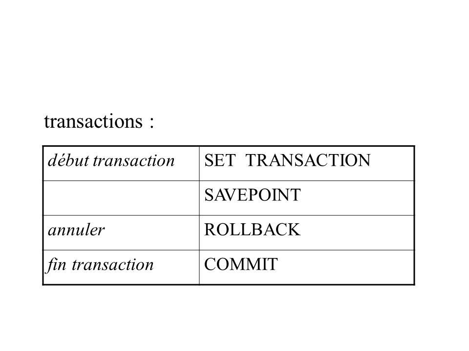 transactions : début transactionSET TRANSACTION SAVEPOINT annulerROLLBACK fin transactionCOMMIT