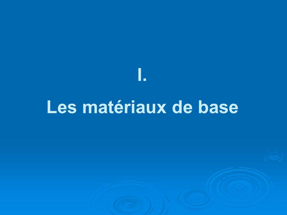 I. Les matériaux de base