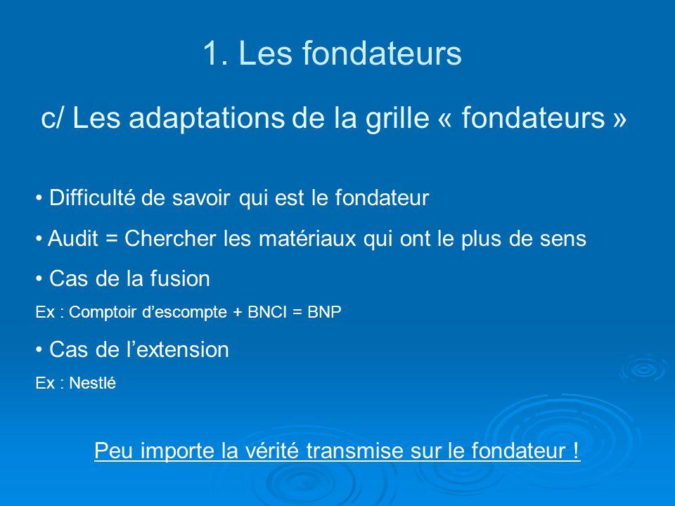 1. Les fondateurs c/ Les adaptations de la grille « fondateurs » Difficulté de savoir qui est le fondateur Audit = Chercher les matériaux qui ont le p