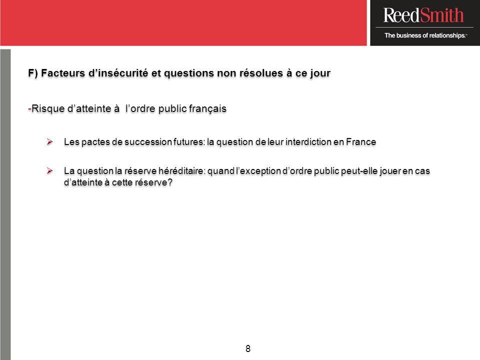F) Facteurs dinsécurité et questions non résolues à ce jour -Risque datteinte à lordre public français Les pactes de succession futures: la question d
