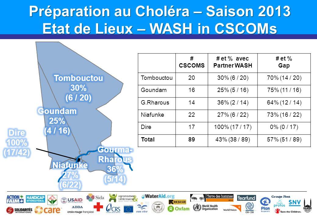 Préparation au Choléra – Saison 2013 Etat de Lieux – WASH in CSCOMs # CSCOMS # et % avec Partner WASH # et % Gap Tombouctou2030% (6 / 20)70% (14 / 20) Goundam1625% (5 / 16)75% (11 / 16) G.Rharous1436% (2 / 14)64% (12 / 14) Niafunke2227% (6 / 22)73% (16 / 22) Dire17100% (17 / 17)0% (0 / 17) Total8943% (38 / 89)57% (51 / 89) Groupe Pivot ADDA