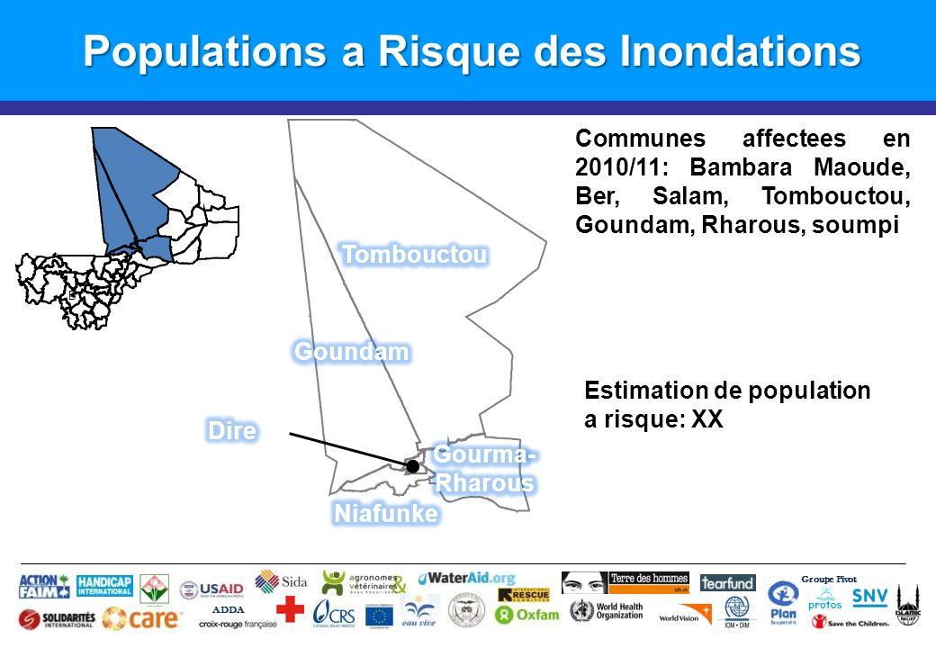 Populations a Risque des Inondations Groupe Pivot ADDA B Estimation de population a risque: XX Communes affectees en 2010/11: Bambara Maoude, Ber, Salam, Tombouctou, Goundam, Rharous, soumpi