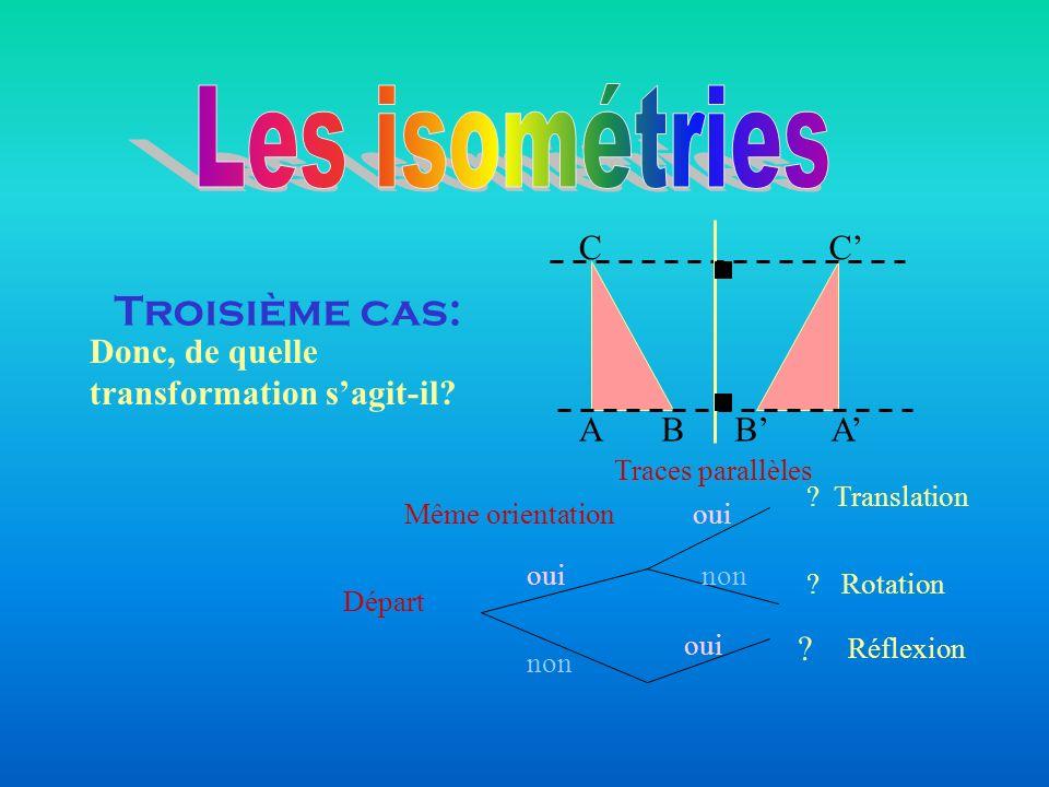 Troisième cas: AB CC BA Donc, de quelle transformation sagit-il? Départ Même orientation Traces parallèles oui non oui non ? Translation ? Rotation Ré