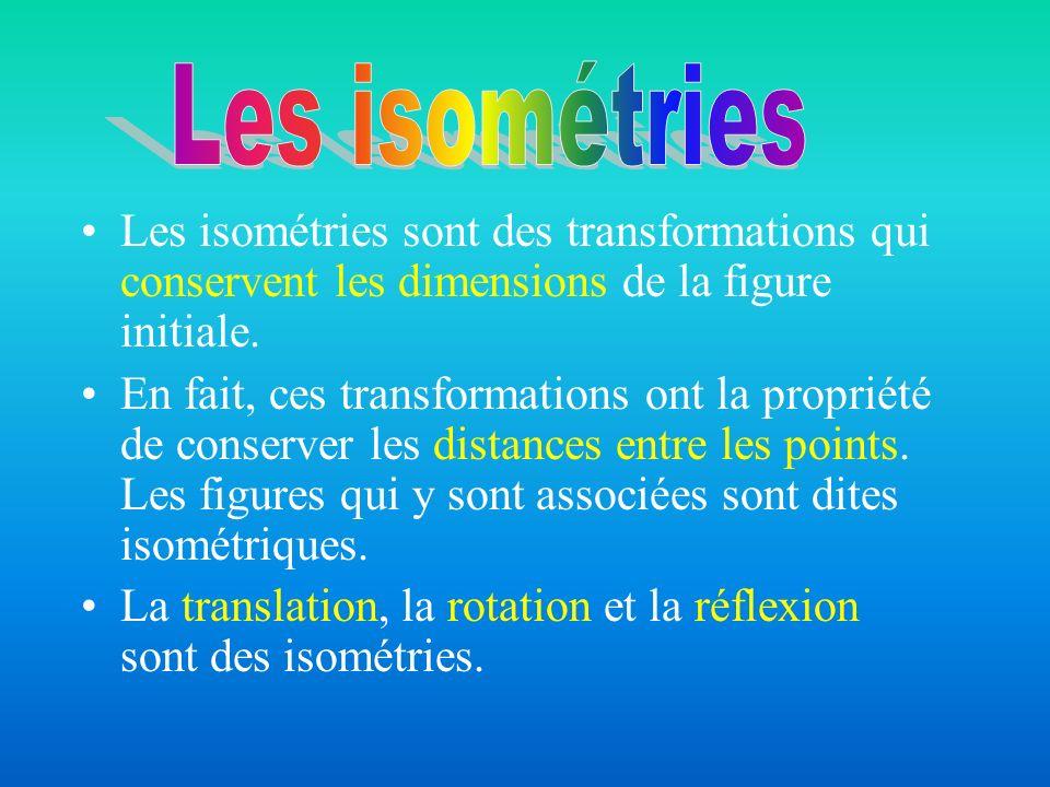 Les isométries sont des transformations qui conservent les dimensions de la figure initiale. En fait, ces transformations ont la propriété de conserve