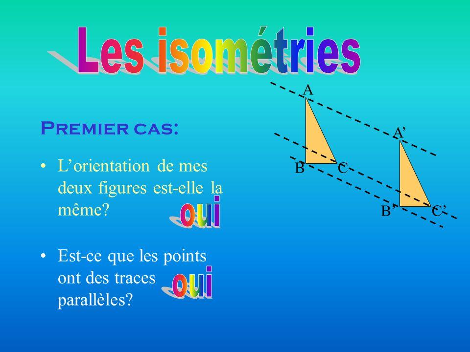 Départ Même orientation Traces parallèles oui Translation Premier cas: Donc, de quelle transformation sagit-il.
