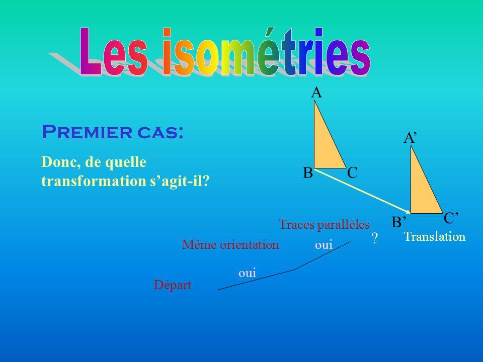 Départ Même orientation Traces parallèles oui Translation Premier cas: Donc, de quelle transformation sagit-il? ? BC A A C B