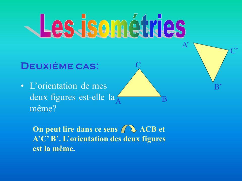 Deuxième cas: A B C B A C Lorientation de mes deux figures est-elle la même? On peut lire dans ce sens ACB et AC B. Lorientation des deux figures est