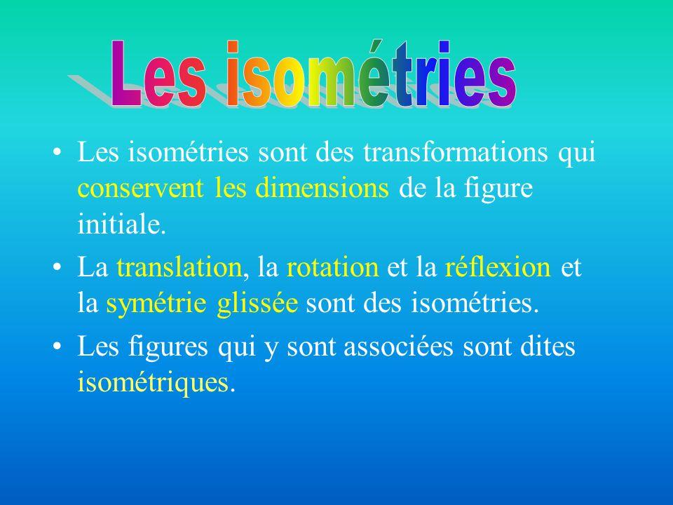 Les isométries sont des transformations qui conservent les dimensions de la figure initiale. La translation, la rotation et la réflexion et la symétri