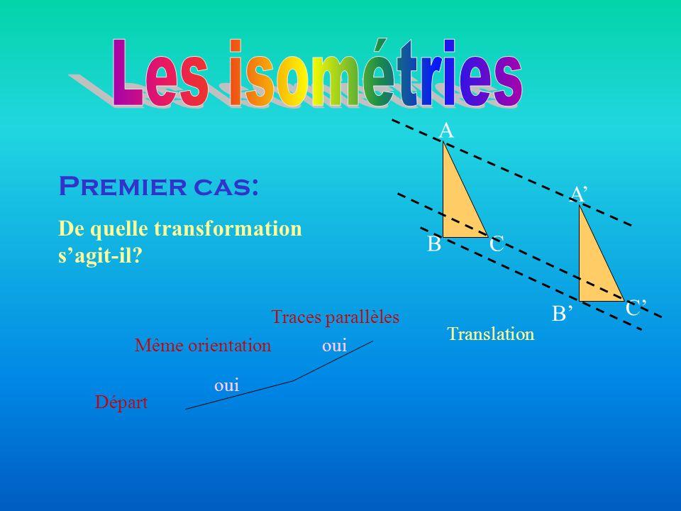 Départ Même orientation oui Traces parallèles oui Translation Premier cas: De quelle transformation sagit-il? BC A A C B
