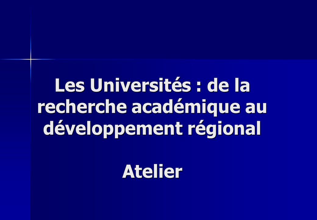 Les Universités : de la recherche académique au développement régional Atelier