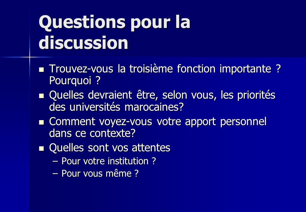 Questions pour la discussion Trouvez-vous la troisième fonction importante ? Pourquoi ? Trouvez-vous la troisième fonction importante ? Pourquoi ? Que