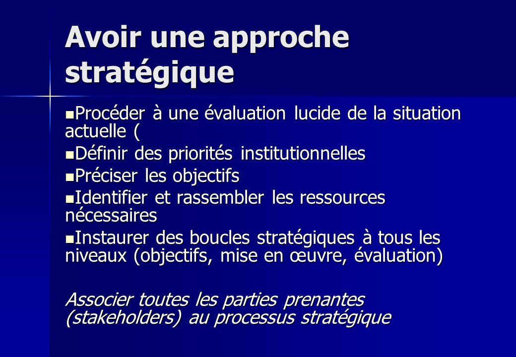 Avoir une approche stratégique Procéder à une évaluation lucide de la situation actuelle ( Procéder à une évaluation lucide de la situation actuelle ( Définir des priorités institutionnelles Définir des priorités institutionnelles Préciser les objectifs Préciser les objectifs Identifier et rassembler les ressources nécessaires Identifier et rassembler les ressources nécessaires Instaurer des boucles stratégiques à tous les niveaux (objectifs, mise en œuvre, évaluation) Instaurer des boucles stratégiques à tous les niveaux (objectifs, mise en œuvre, évaluation) Associer toutes les parties prenantes (stakeholders) au processus stratégique