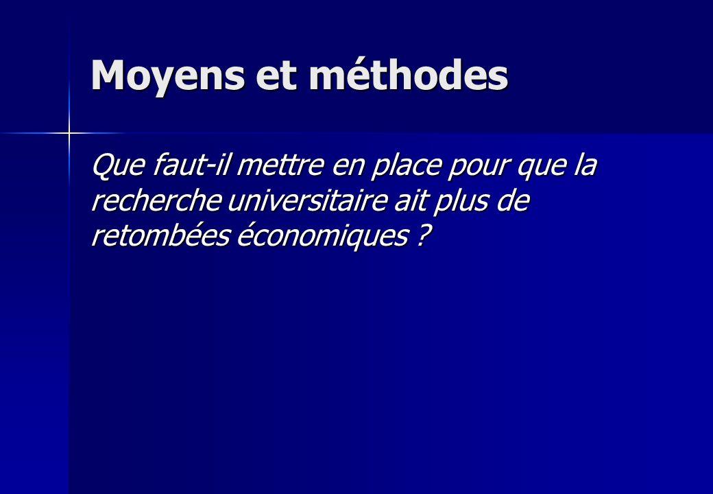 Moyens et méthodes Que faut-il mettre en place pour que la recherche universitaire ait plus de retombées économiques ?