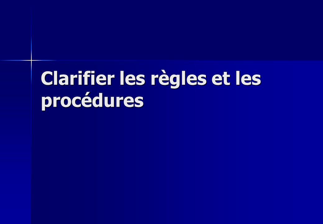 Clarifier les règles et les procédures