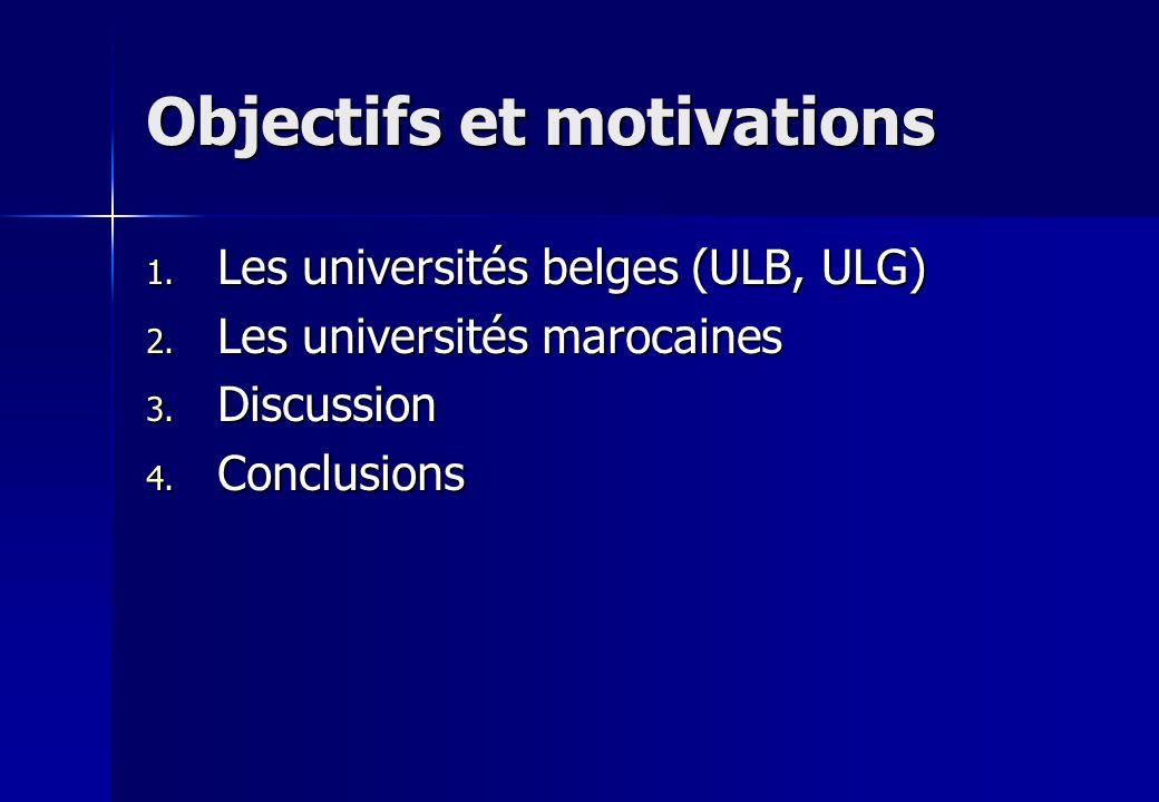 Objectifs et motivations 1. Les universités belges (ULB, ULG) 2. Les universités marocaines 3. Discussion 4. Conclusions