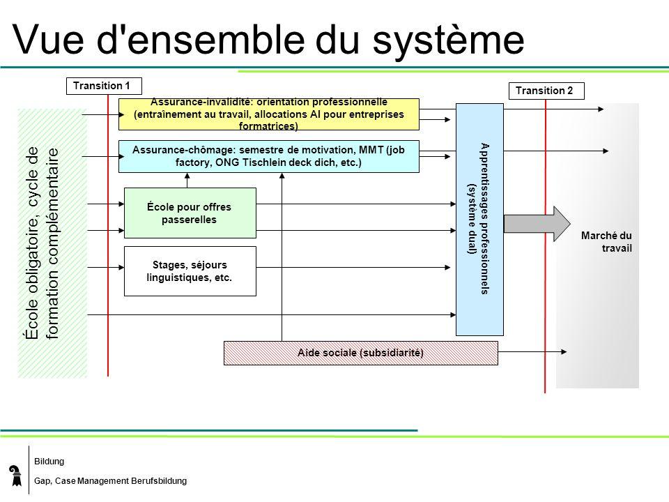 Bildung Gap, Case Management Berufsbildung Marché du travail Vue d'ensemble du système École obligatoire, cycle de formation complémentaire École pour