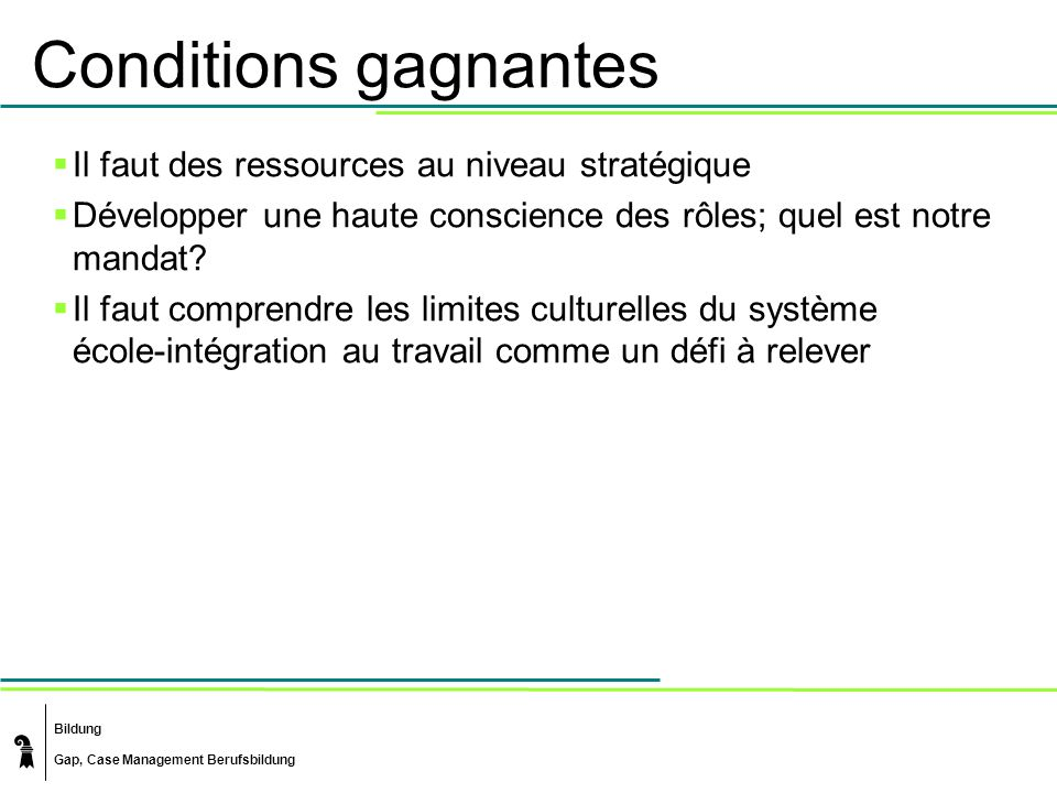 Bildung Gap, Case Management Berufsbildung Conditions gagnantes Il faut des ressources au niveau stratégique Développer une haute conscience des rôles