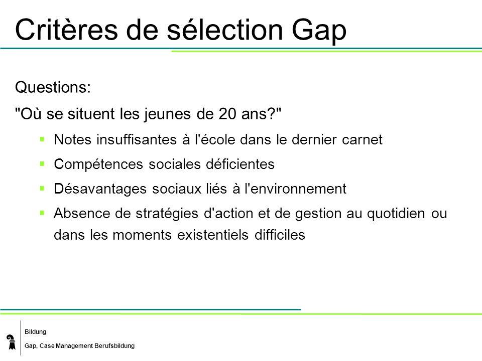 Bildung Gap, Case Management Berufsbildung Critères de sélection Gap Questions: