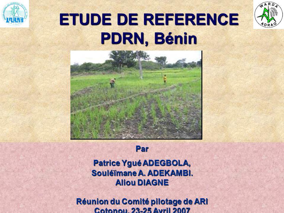 ARI Steering Committee, Cotonou, 23- 25 April, 2007 ETUDE DE REFERENCE PDRN, Bénin Par Patrice Ygué ADEGBOLA, Souléïmane A. ADEKAMBI. Aliou DIAGNE Réu