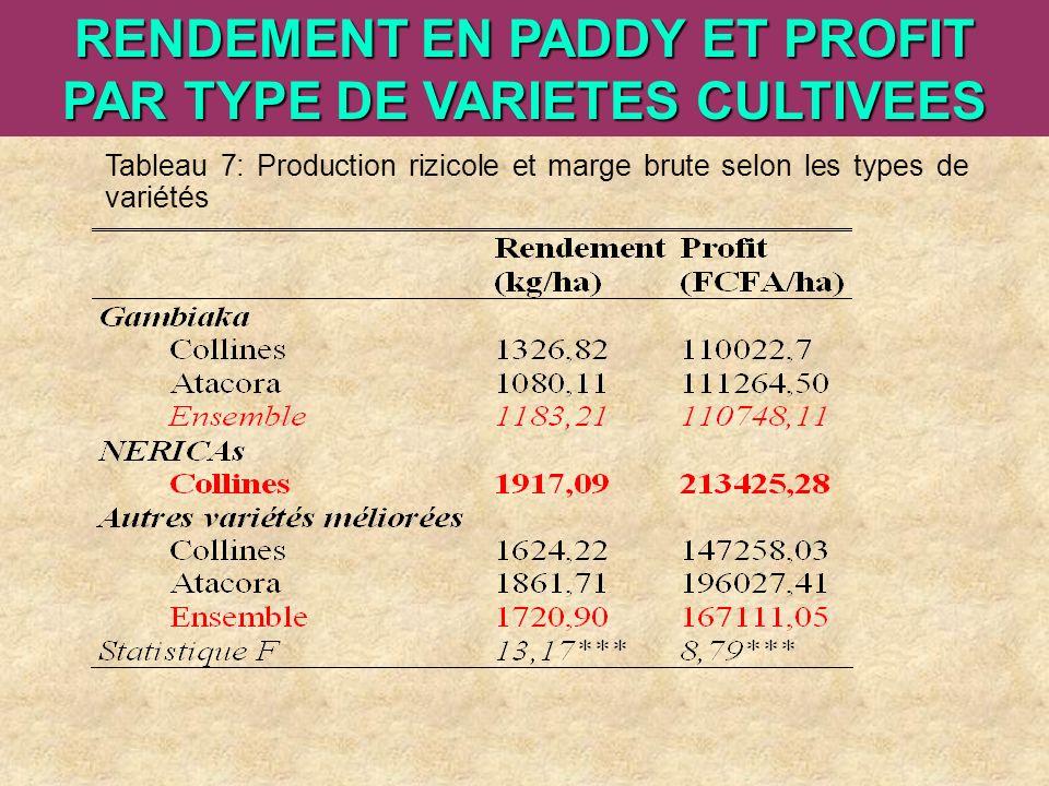 ARI Steering Committee, Cotonou, 23- 25 April, 2007 RENDEMENT EN PADDY ET PROFIT PAR TYPE DE VARIETES CULTIVEES Tableau 7: Production rizicole et marg
