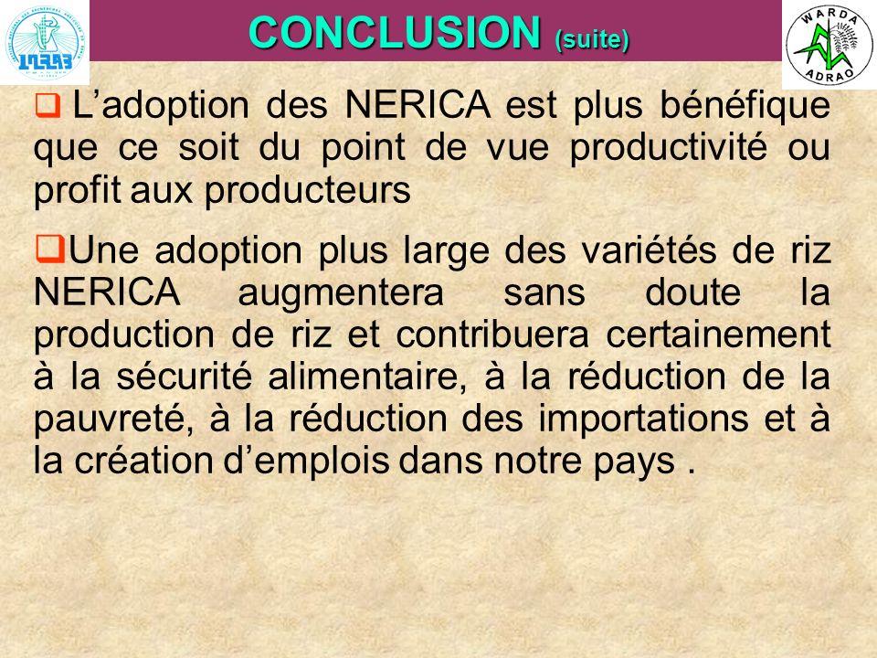 ARI Steering Committee, Cotonou, 23- 25 April, 2007 CONCLUSION (suite) Ladoption des NERICA est plus bénéfique que ce soit du point de vue productivit