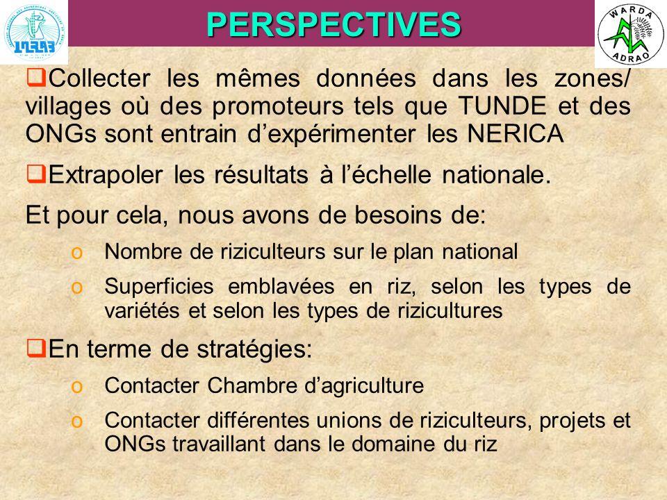 ARI Steering Committee, Cotonou, 23- 25 April, 2007PERSPECTIVES Collecter les mêmes données dans les zones/ villages où des promoteurs tels que TUNDE